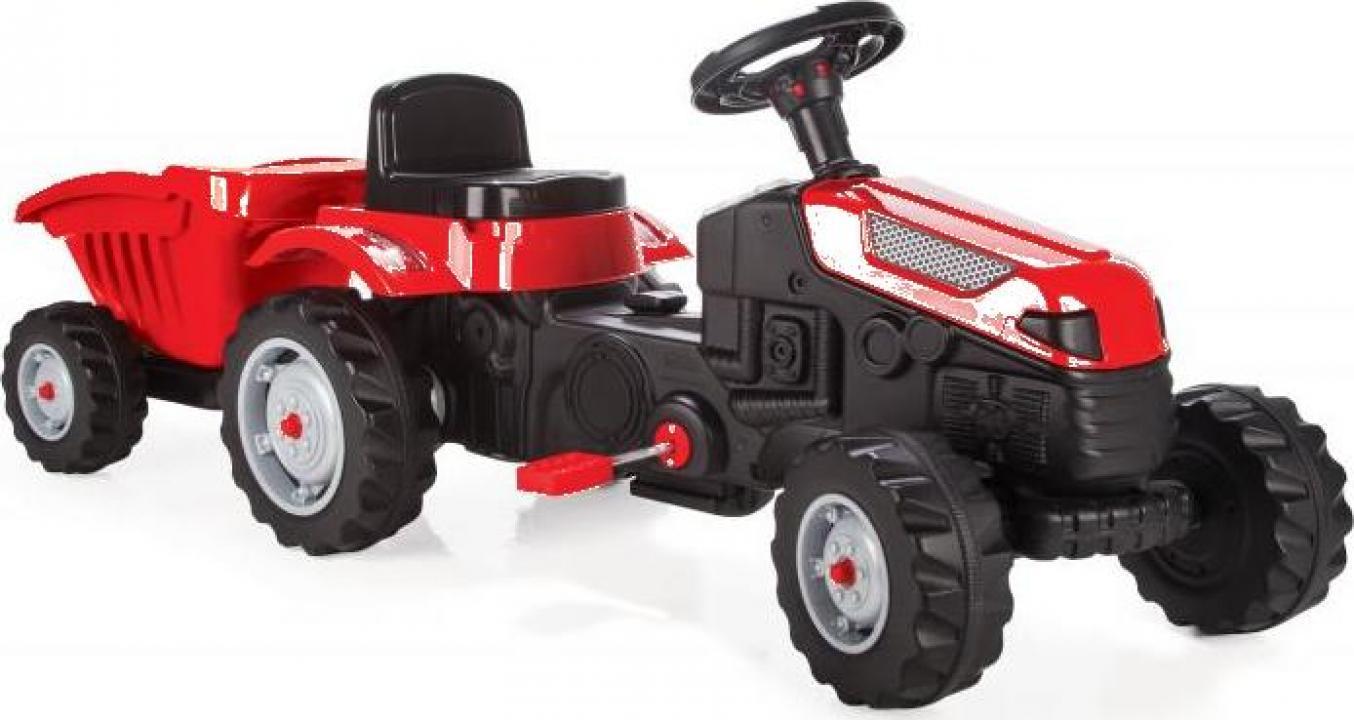 Jucarie tractor cu pedale si remorca Pilsan Active rosu