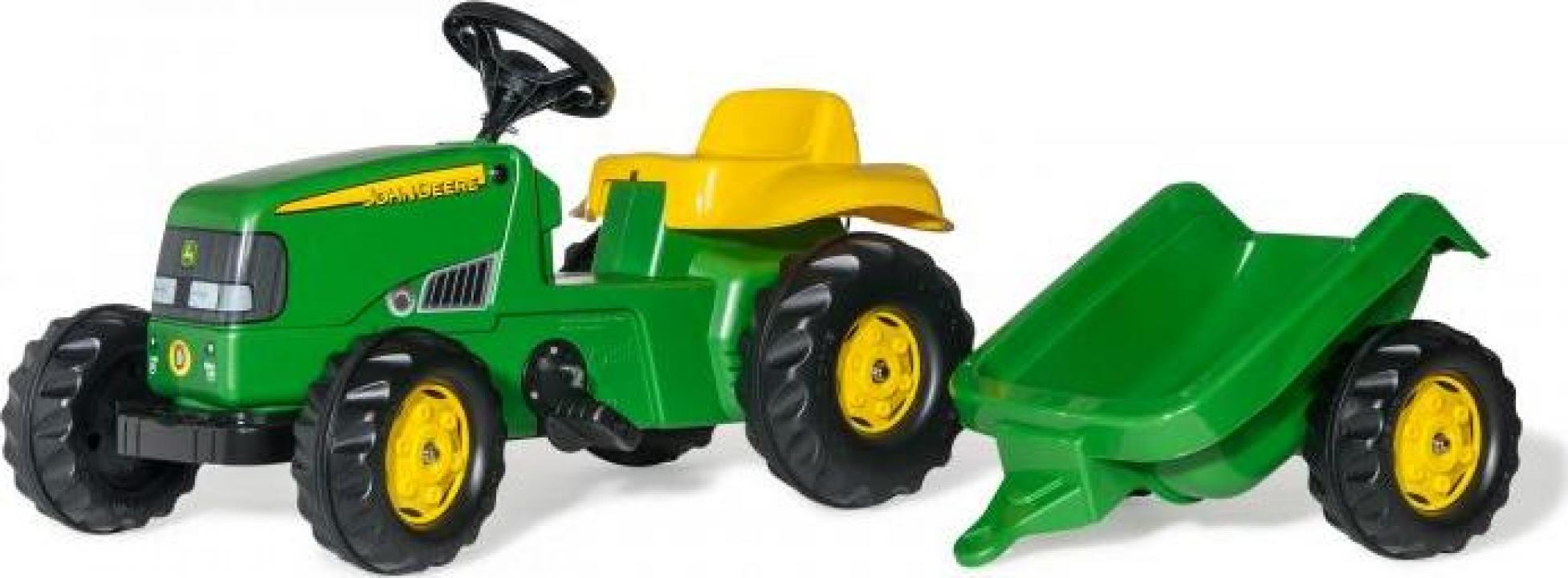 Jucarie tractor cu pedale si remorca Rolly Toys RollyKid