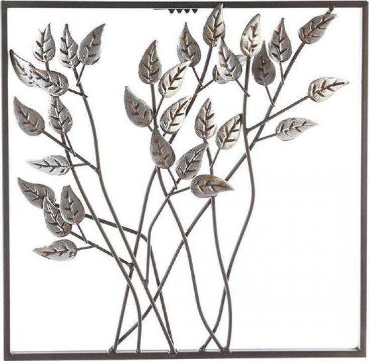 Decoratiune pentru perete Leafs, metalic, maro inchis
