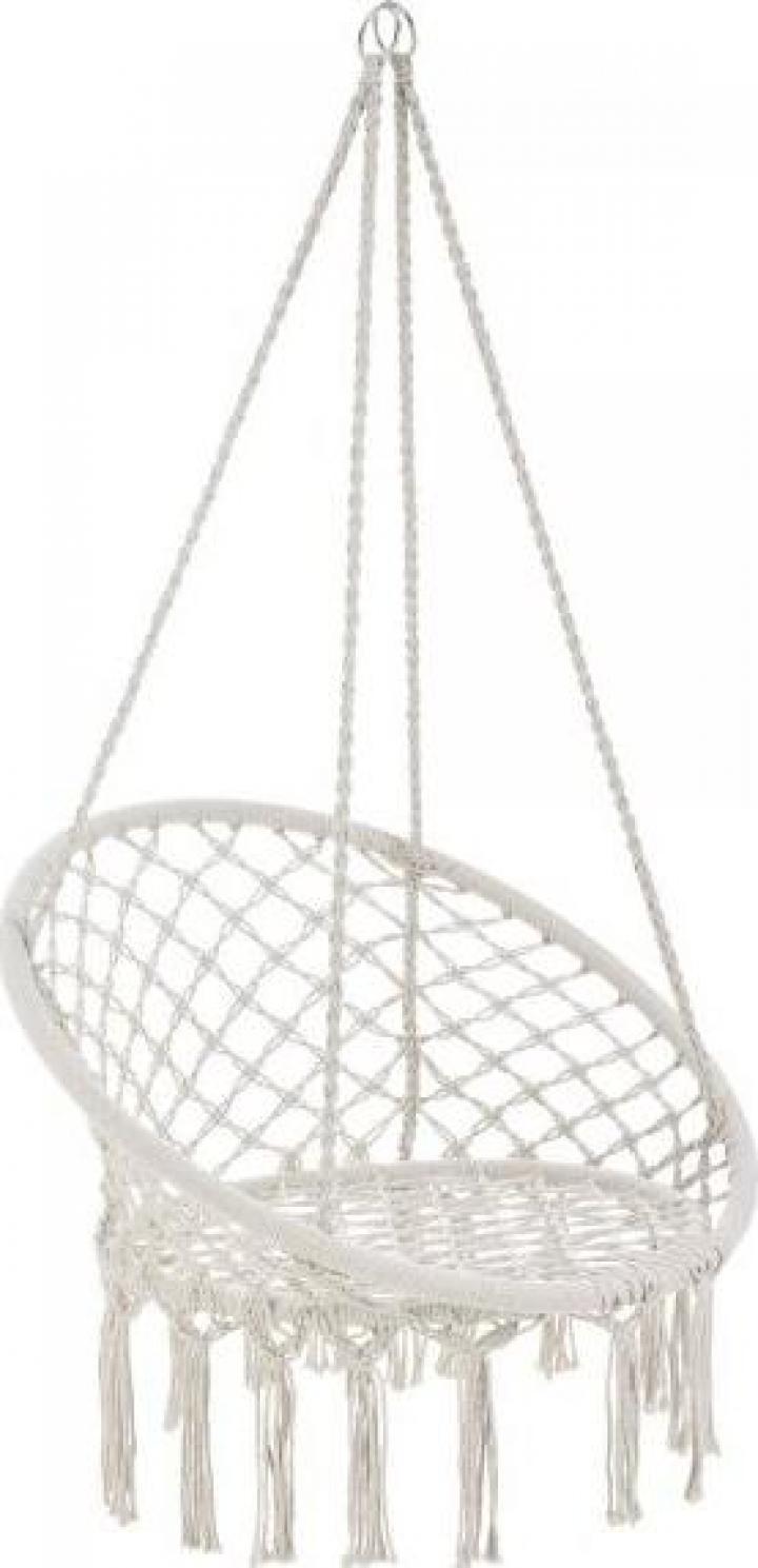 Hamac scaun ABLS-6003, 140 cm, otel/bumbac/poliester, crem