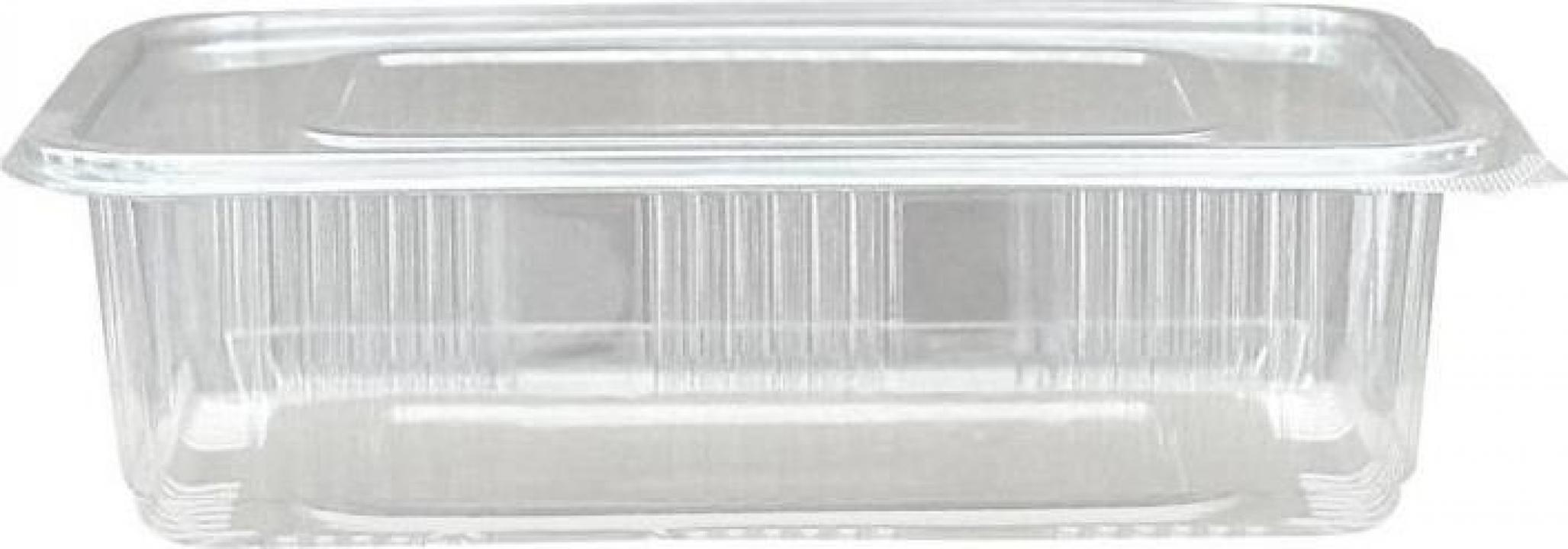 Caserola PET capac atasat 750cc 100 buc/set