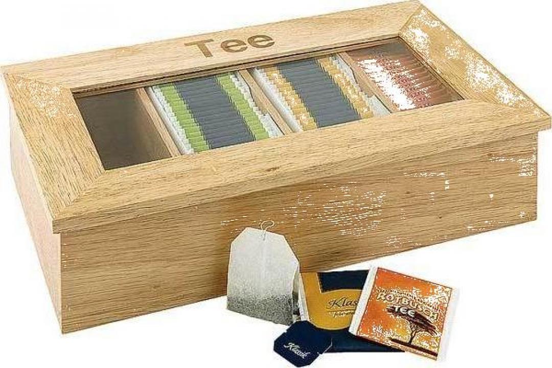 Cutie ceai din lemn cu 4 compartimente, culoare deschisa