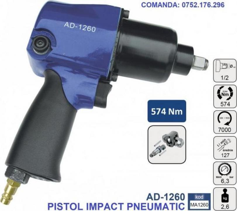 "Pistol impact pneumatic 574Nm 6.3 bari 1/2"", Adler AD-1260"