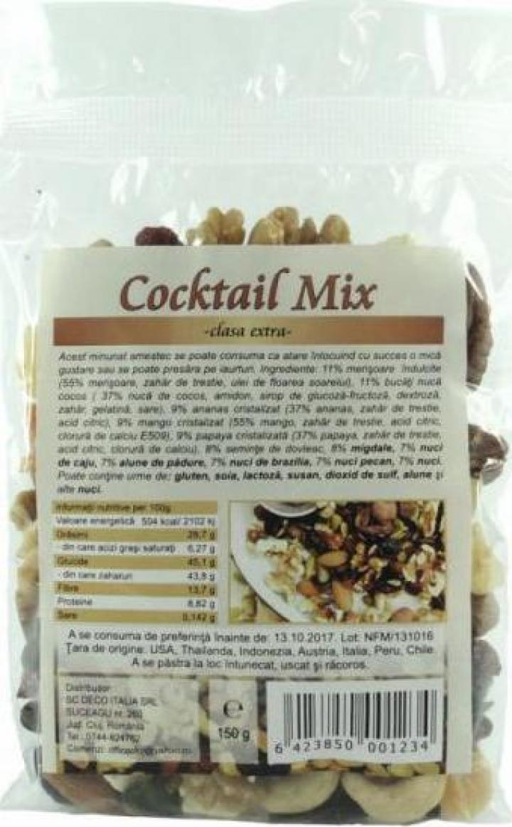 Cocktail mix extra, fructe, seminte, nuci, 150g