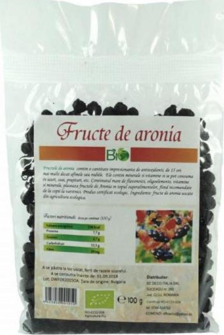 Fructe de aronia uscate, deshidratate, bio 100g