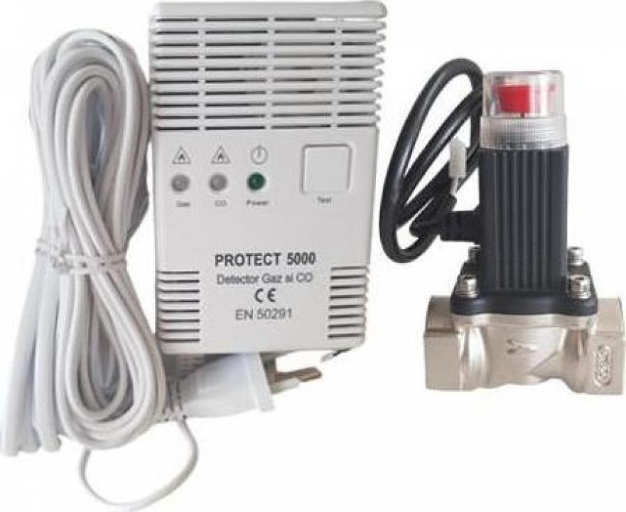 Detector gaz si monoxid 3/4 cu electrovana P5000 Protect