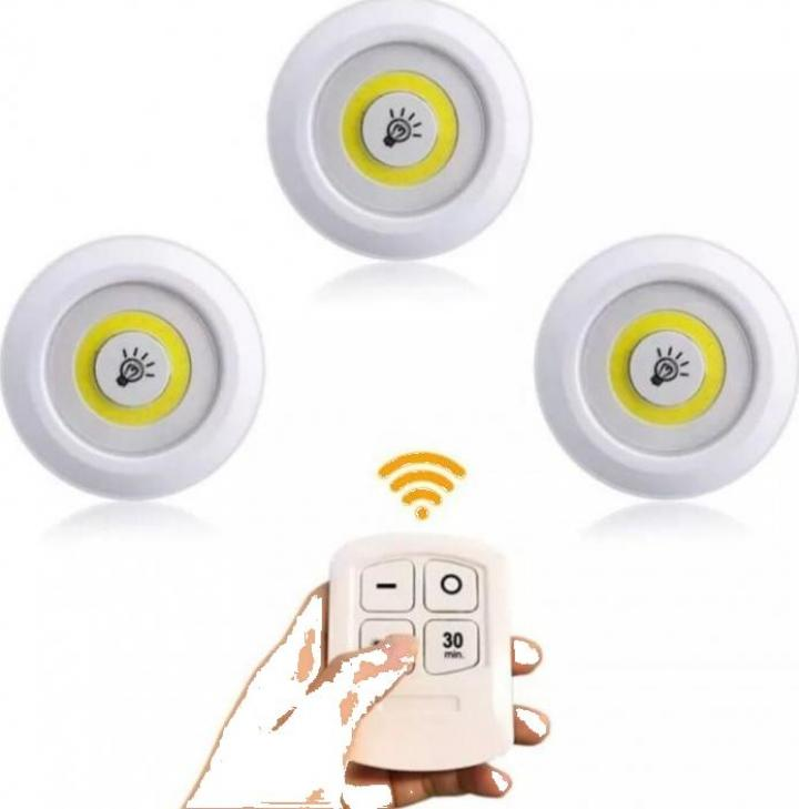 Set 3 lampi led portabile telecomanda inclusa
